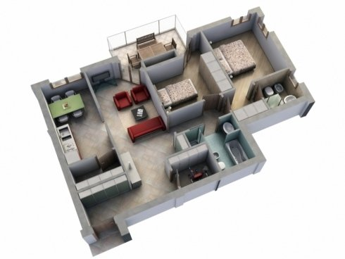 Appartamento con due camere da letto, due bagni, due ripostigli, cucina, soggiorno e balcone