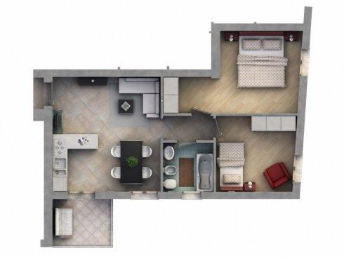 Pianta appartamento trilocale