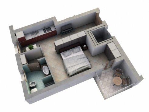Monolocale: angolo cottura, camera da letto, bagno e balcone