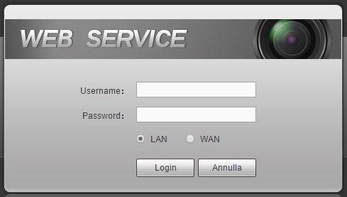 log in per il servizio web