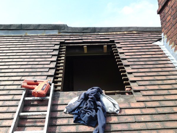 A roof being prepared for a new skylight by All Roofing & Guttering