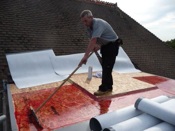Single ply roofing being applied by All Roofing & Guttering
