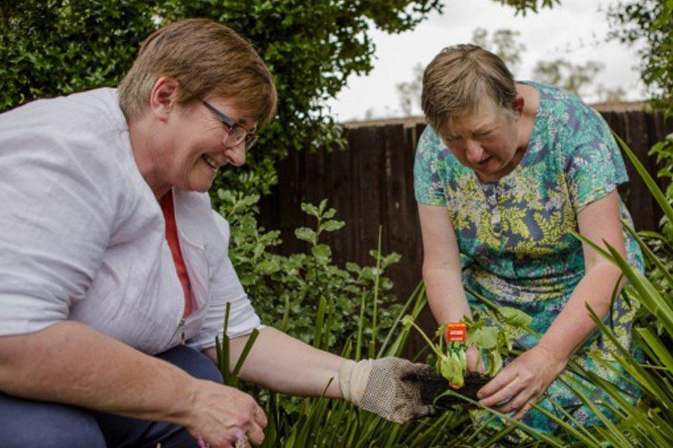 Old ladies working in the garden