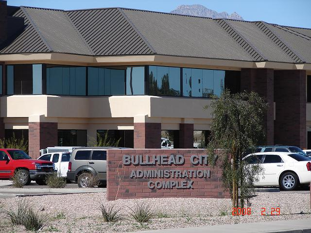 Glass installed at the Bullhead City administrative office  in Lake Havasu City