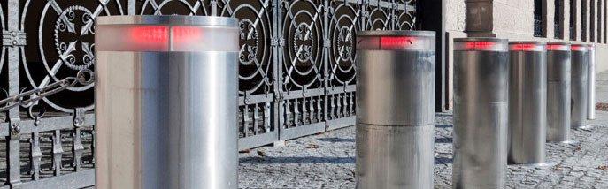 Steel bollard - Winchester - Britannia Security Shutters - Silver steel bollards