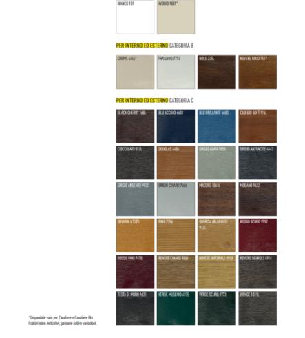 tavola dei colori disponibili