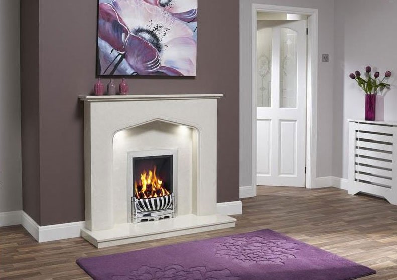 fireplace with colour coded wall and carpet