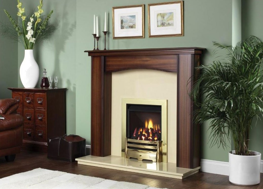 fireplace with wooden finish