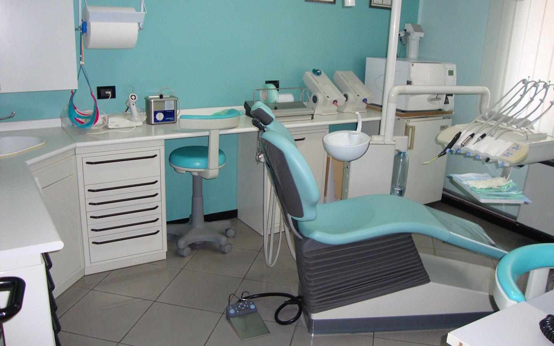 interno dello studio dentistico con piano da lavoro,lettino e l'attrezzatura
