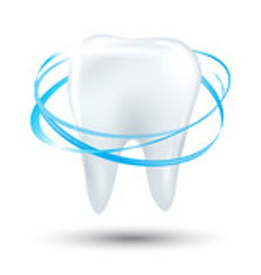 immagine di un dente e dei cerchi azzurri che lo circondano