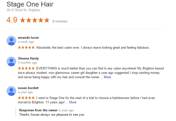Google reviews for Stage One Hair