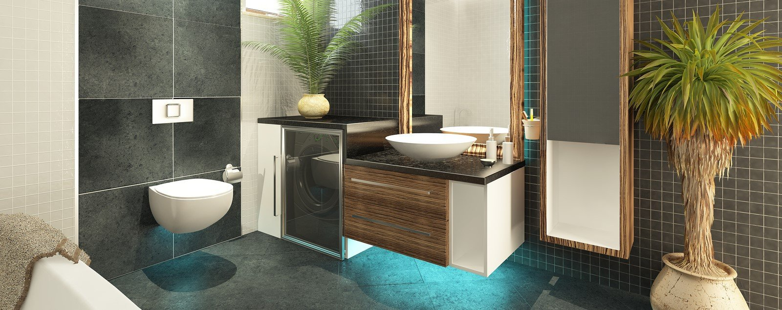 Turquoise accented vanity in a contemporary bathroom.