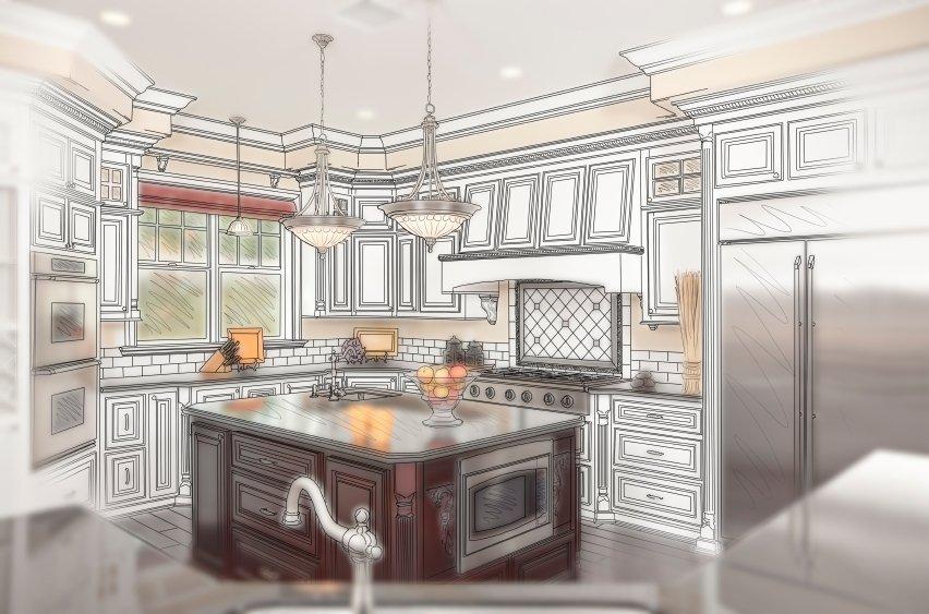 Kitchen island and custom cabinets