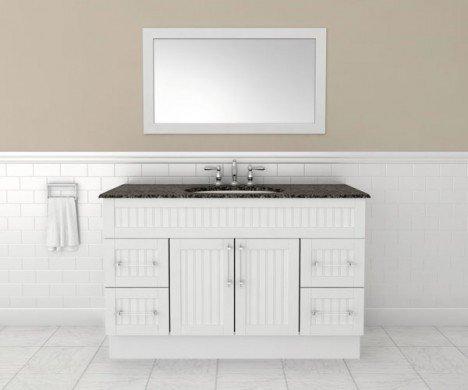 ample vertical bathroom mirror and granite vanity
