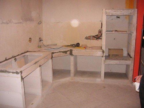 Cucina in fase di costruzione