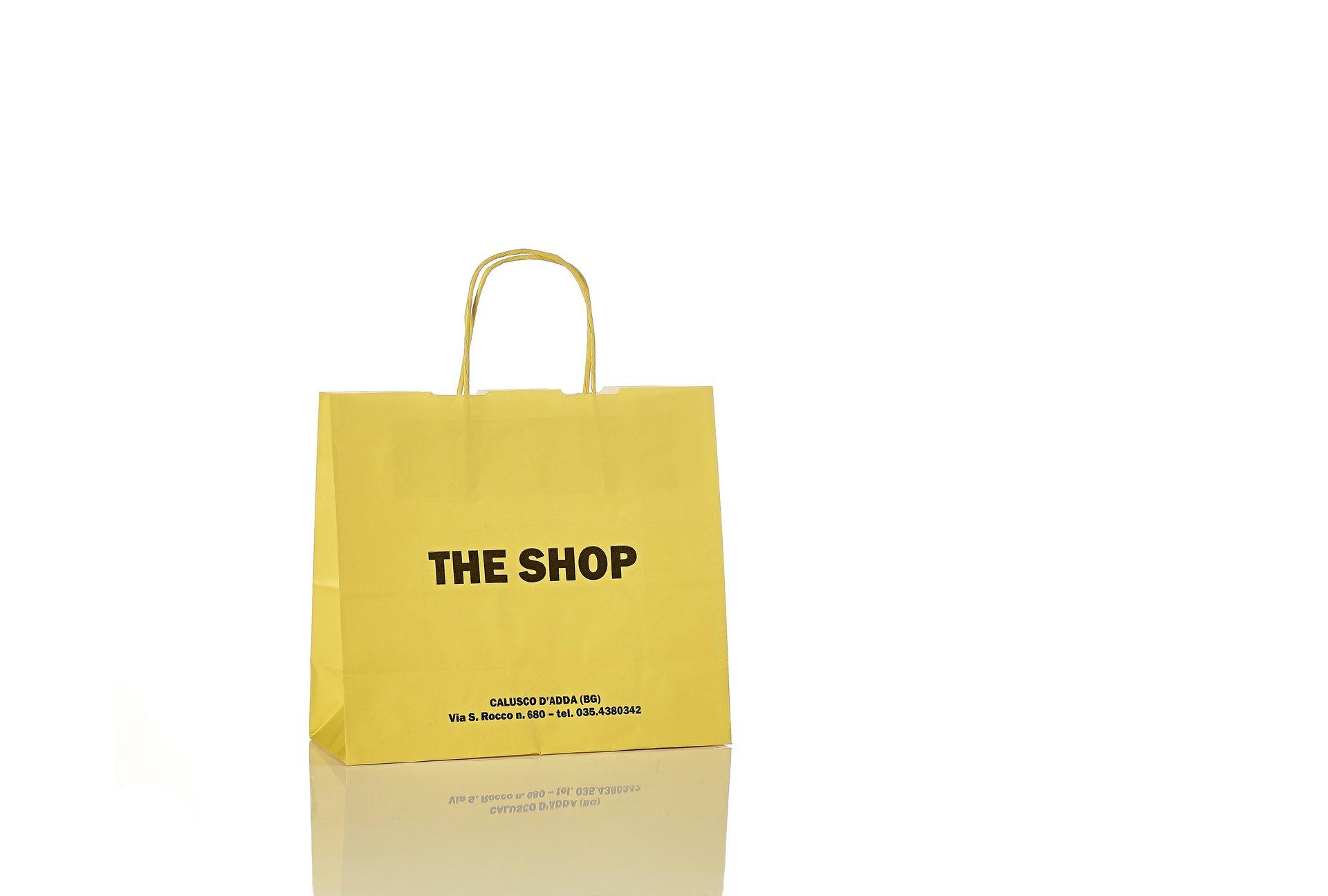 Sacchetto in carta gialla The Shop