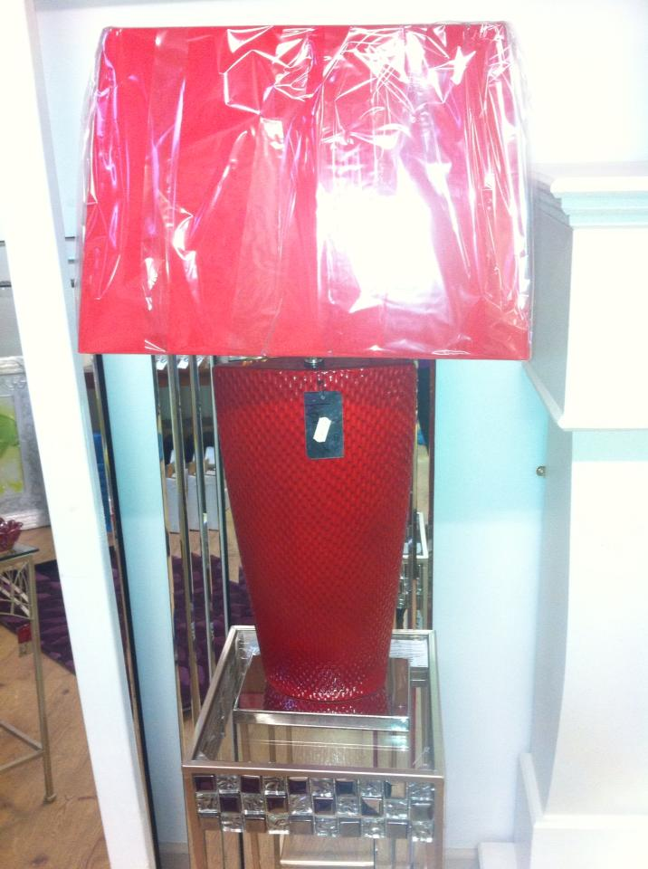 red coloured lamp shade