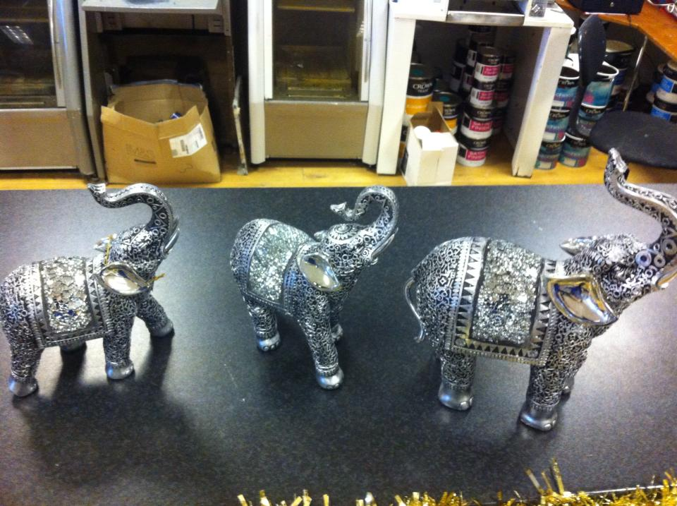 elephants made out of metal