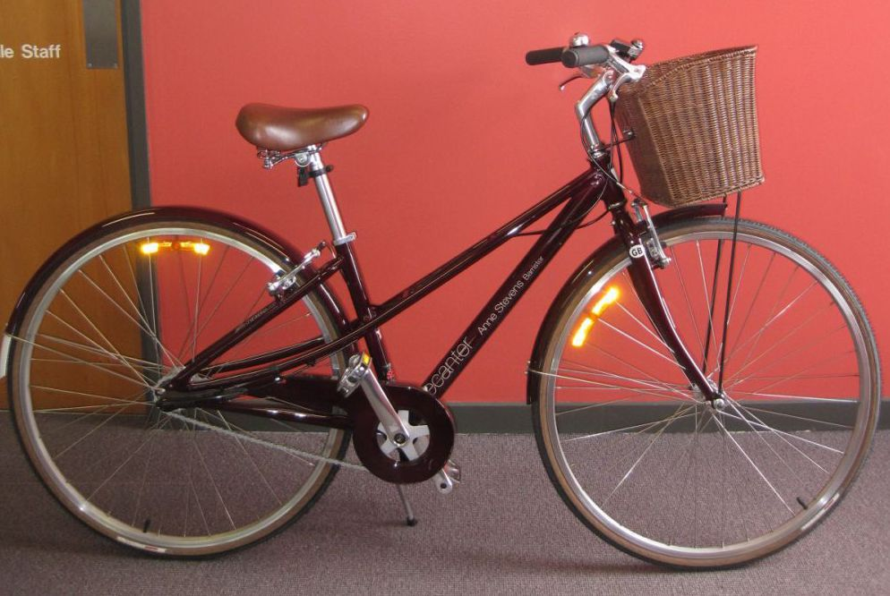 A bicycle with Anne Stevens' name on it