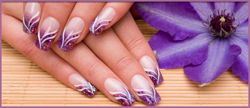 Purple and white patterned nail extensions