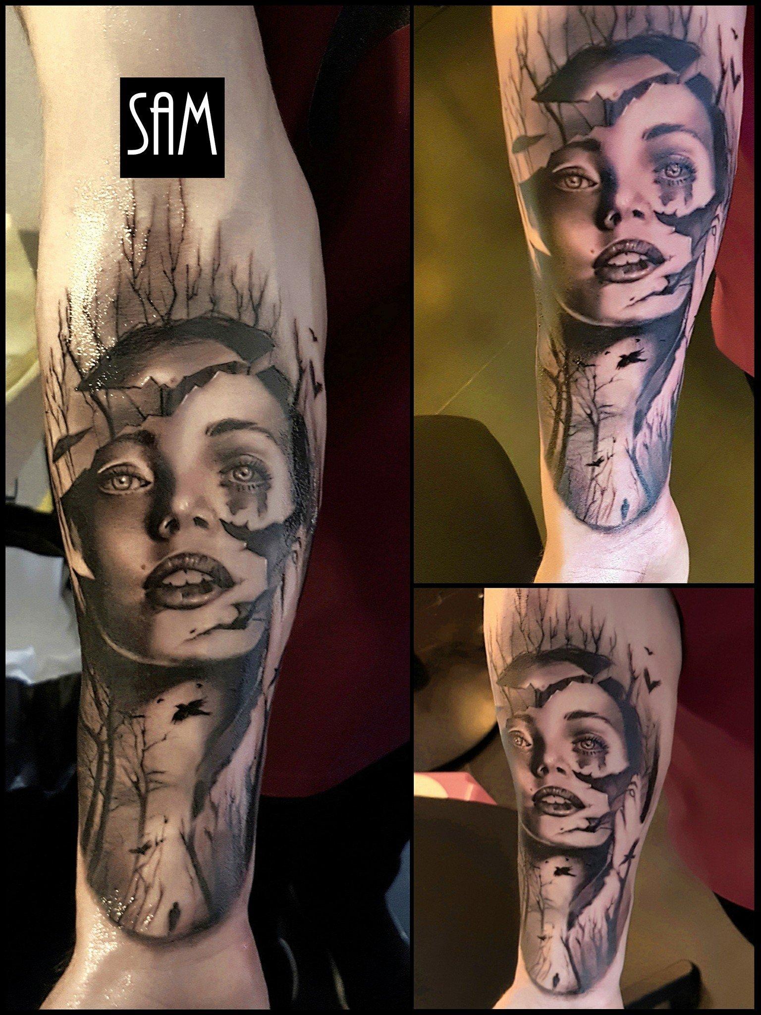 tatuaggio volto di donna