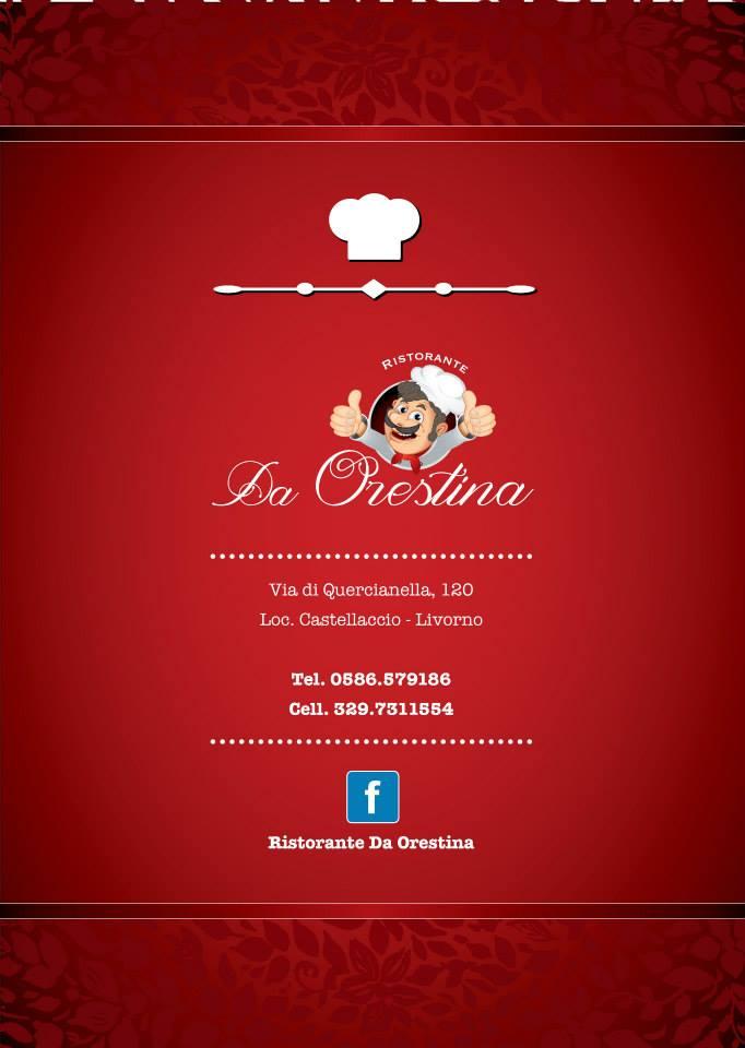 retro del menu Da Orestina Trattoria con logo