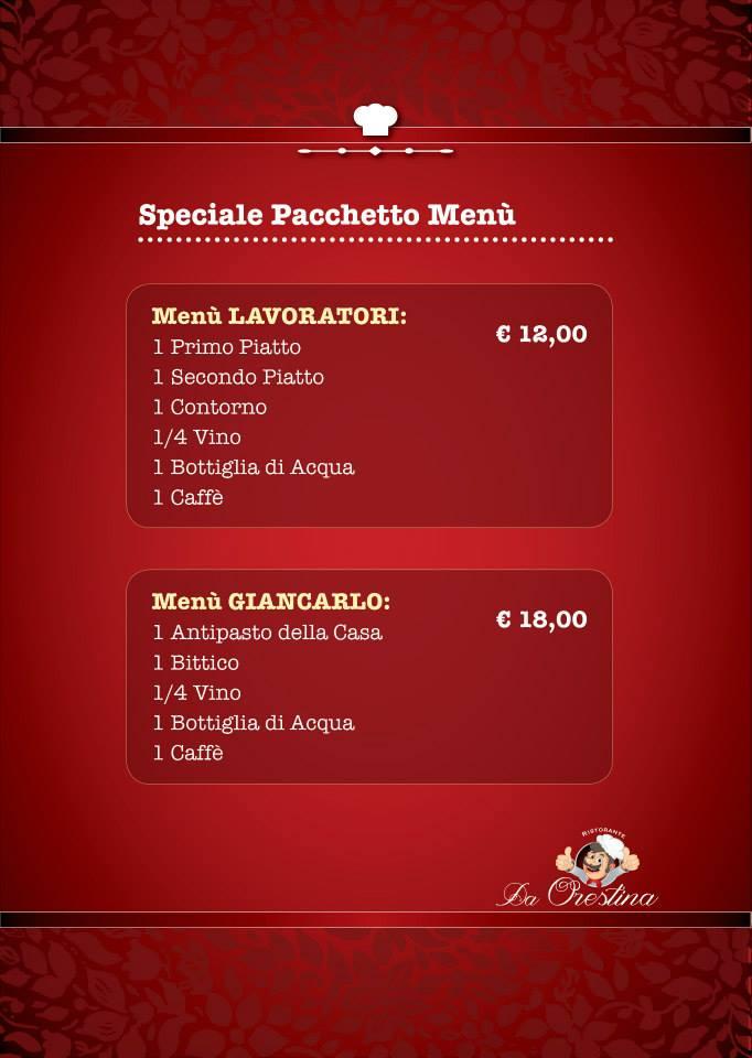 menu pacchetti speciali