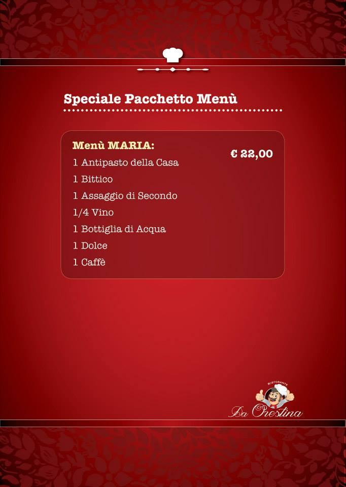 menu speciale pacchetto Maria