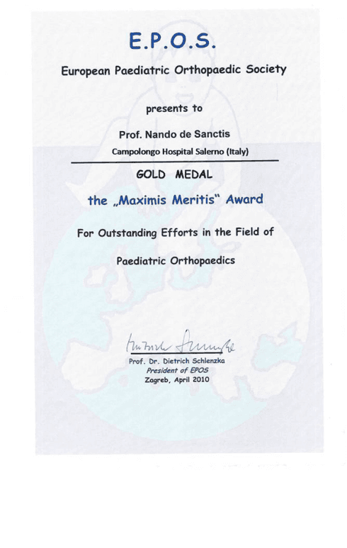 Gold Medal for Pediatric Orthopedics