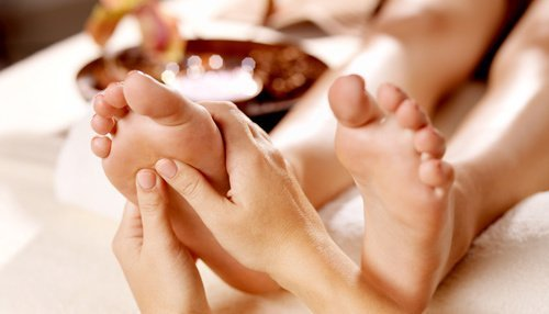 Foot massage at our salon