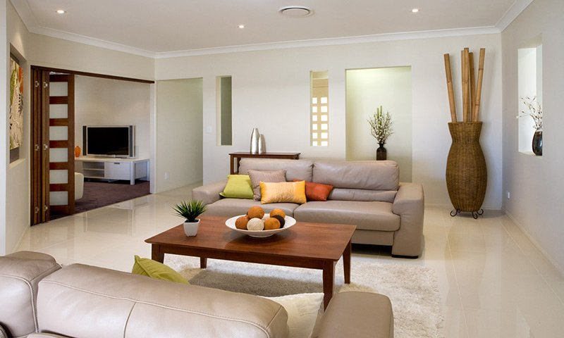 living room with two couches and a table