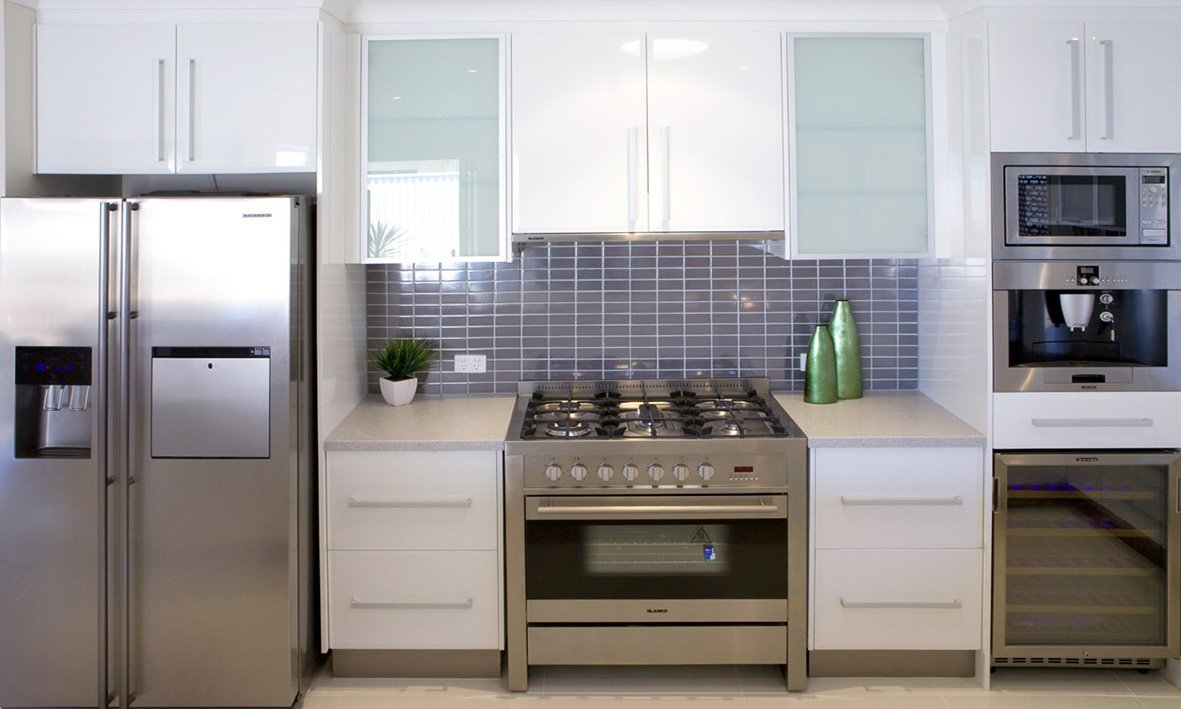 beautiful modern kitchen with stainless steel appliances