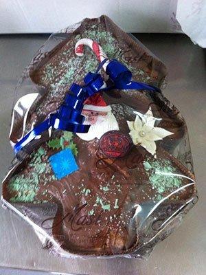 albero di natale al cioccolato confezionato