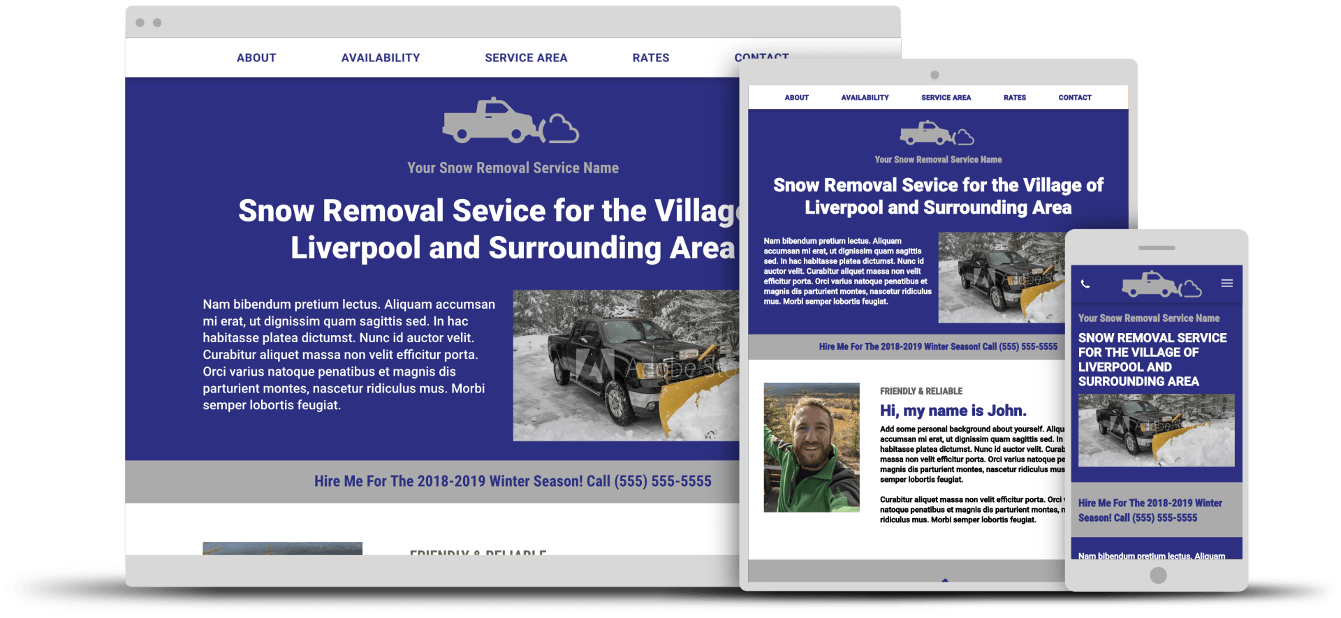snow removal service template landing page