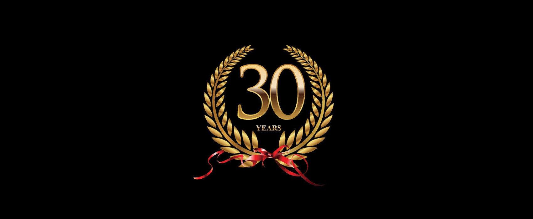 30 years signage