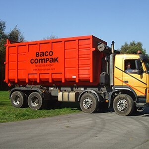 Long shot of Baco roll on lorry