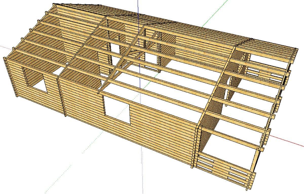 un disegno di una casetta in legno