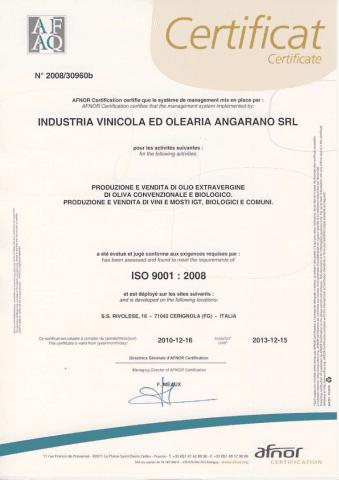 Abbiamo la Certificazione ISO 9001: 2008 che certifica il sistema di gestione qualità