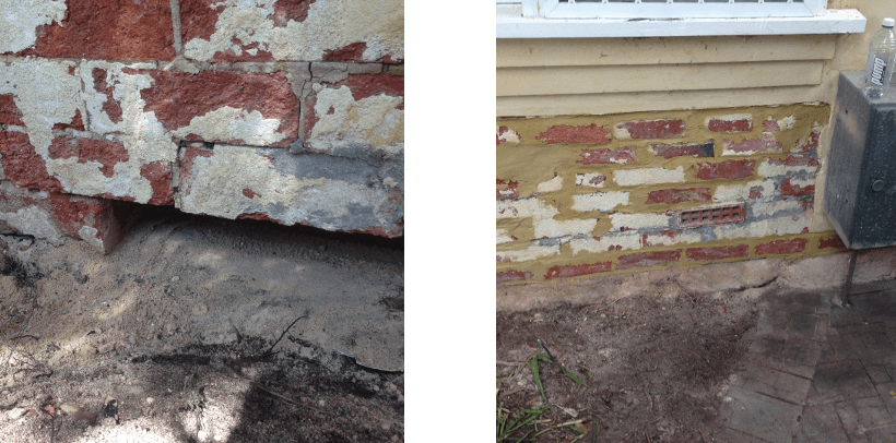 Foundation after rising damp repair in Perth