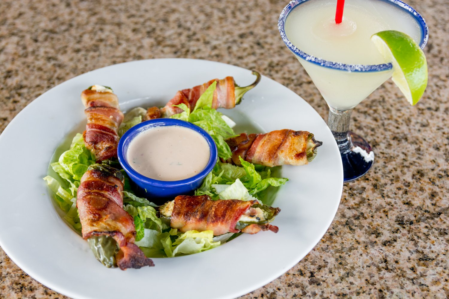 Red Hen Bar and Grill  Bacon wrapped stuffedJalapeno Peppers