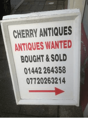 Cherry Antiques directions board