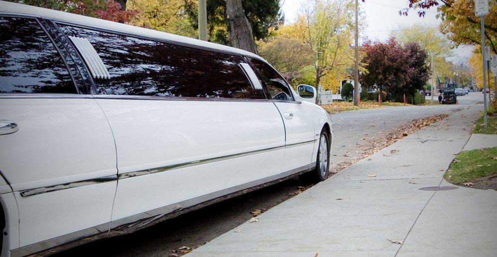 white limousine parked