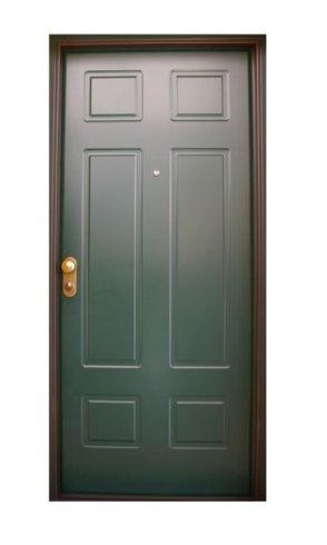 una porta in legno verde scura