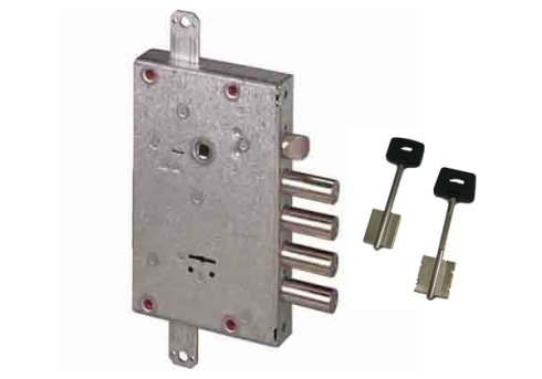 una serratura blindata e due chiavi