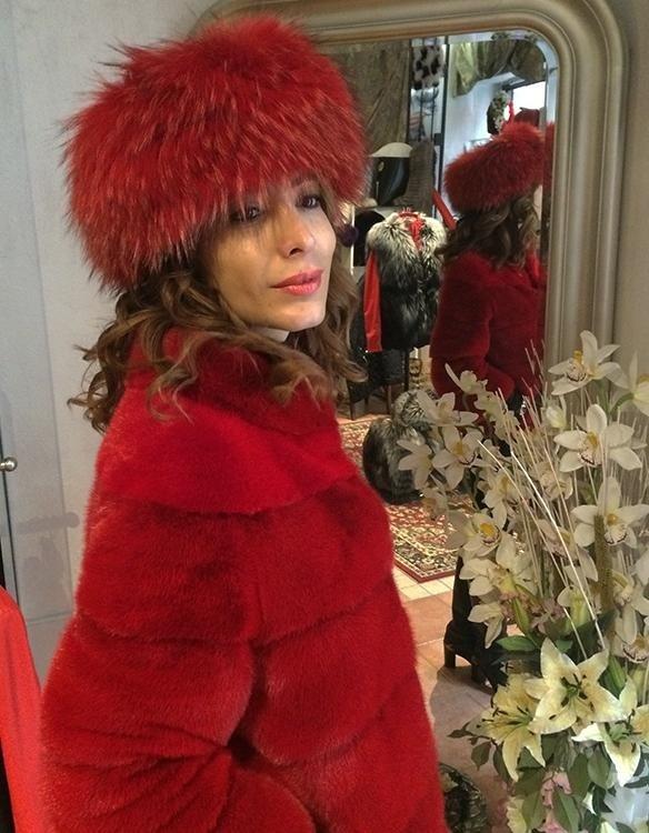 giacca visone rosso