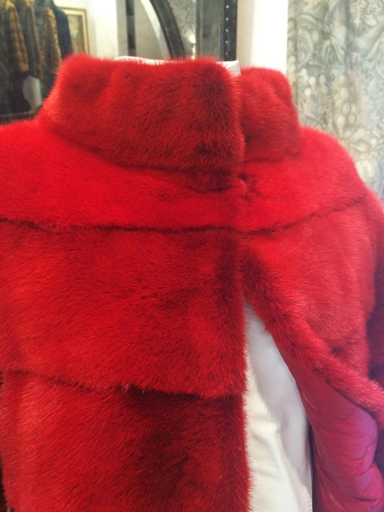 visone rosso reversibile piumino