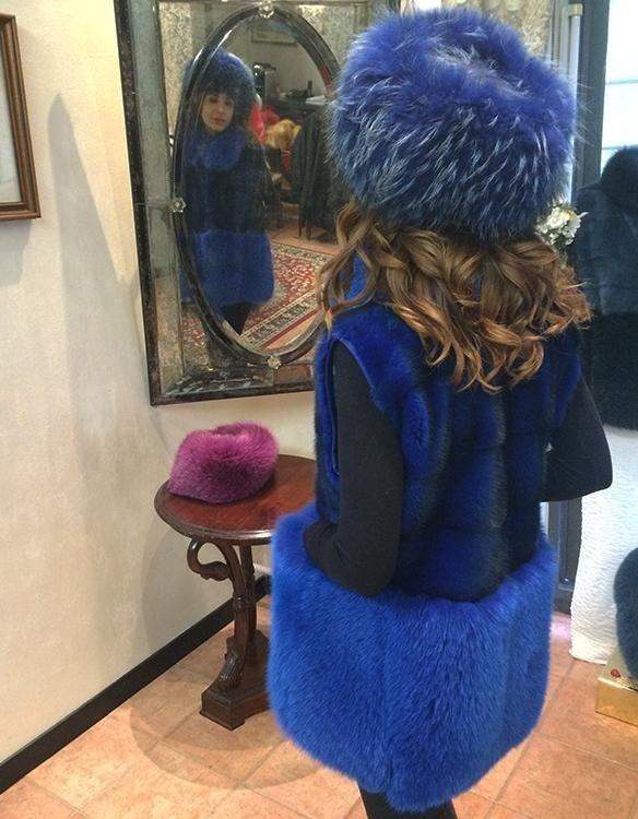 Gilet visone e volpe blu