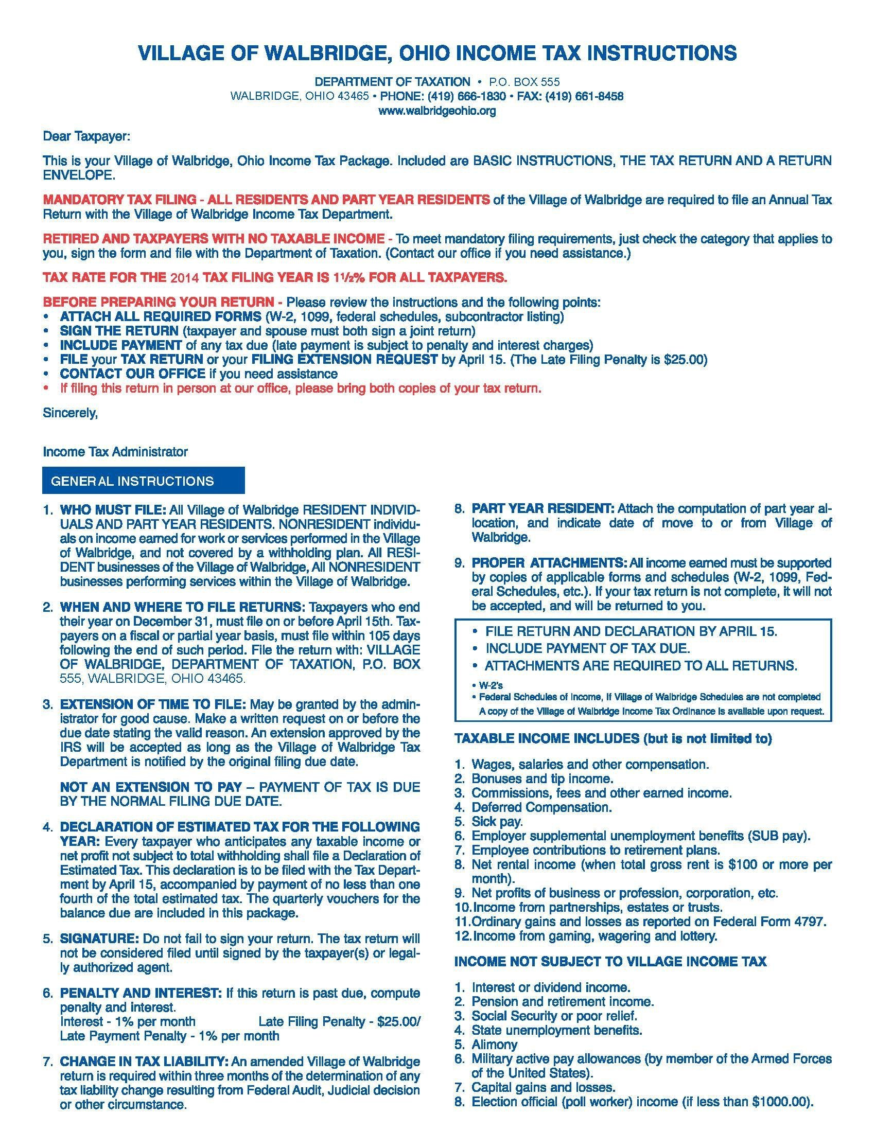 2014 Instructions Walbridge Local Income Tax Forms