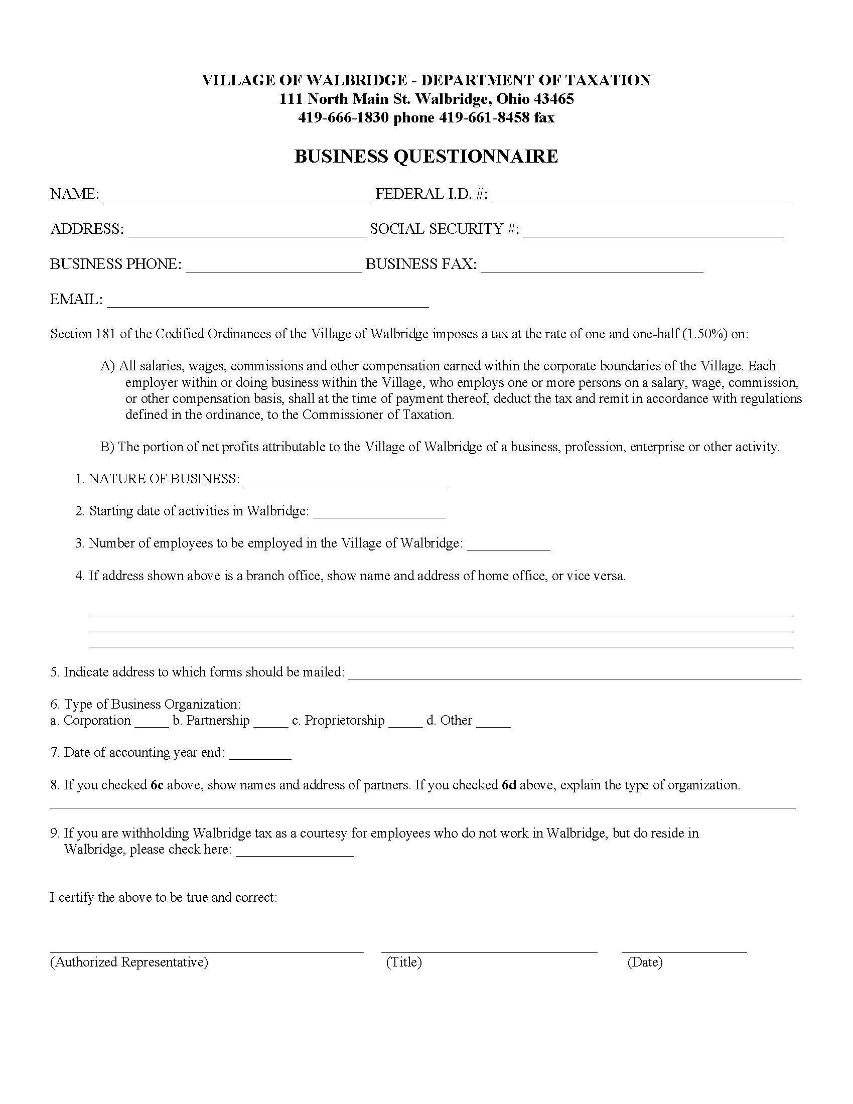 Village of Walbridge Ohio Tax Forms – Tax Form