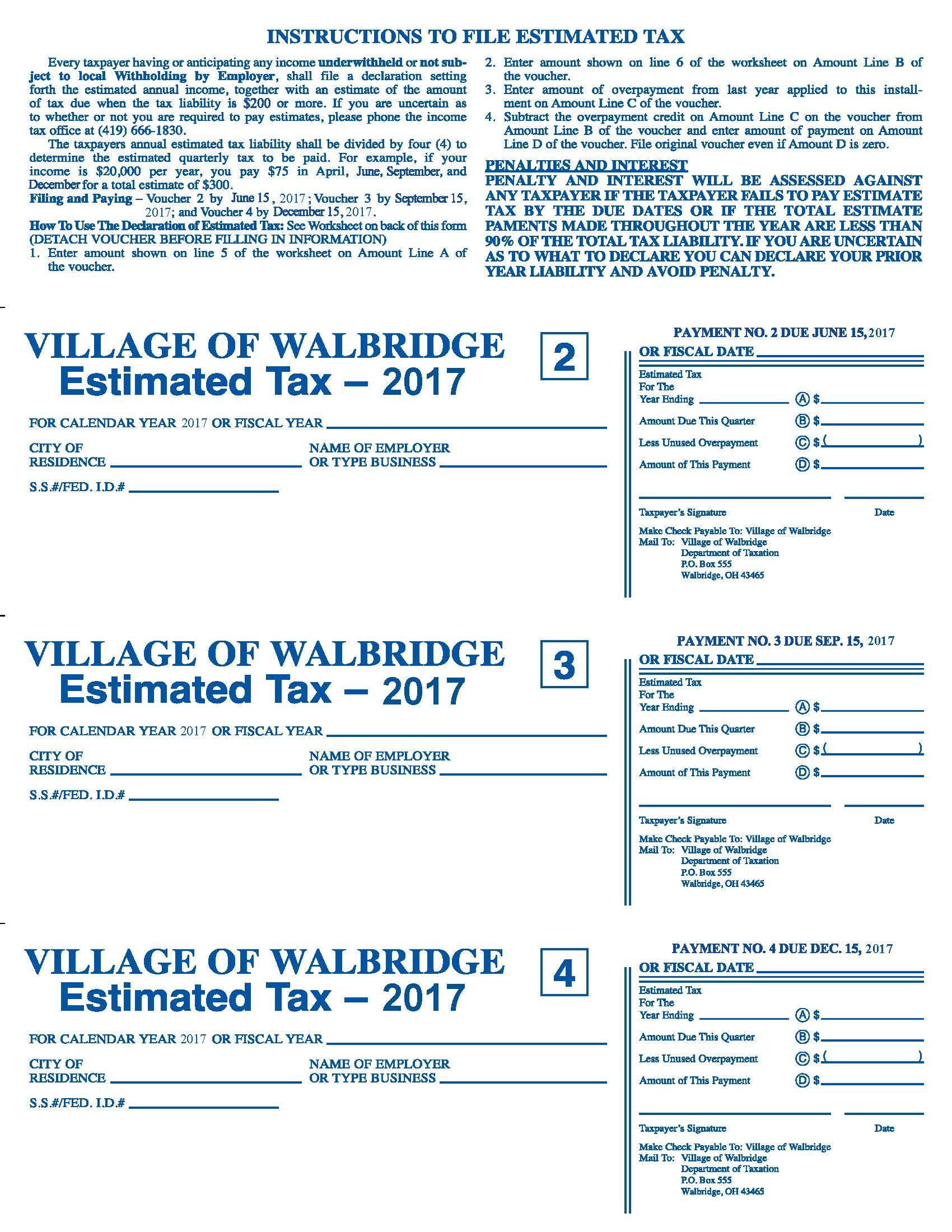 Village of Walbridge Ohio Tax Forms